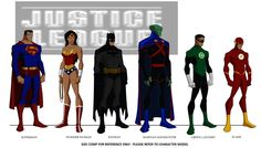 size comparison model sheet for The Justice League: Crisis on Two Earths