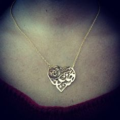 Arabic Calligraphy Name Necklace, Heart Name Pendant, Arabic Name Jewelry, Metal Artisan Jewelry, Arabic Calligraphy Jewelry