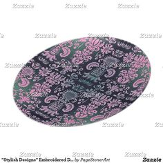 """""""Stylish Designs"""" Embroidered Damask* Dinner Plate"""