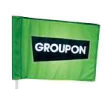 Single Sided Golf Flag - Standard size. Great for promoting golf outings. Flag is mounted to plastic tube that slides over standard pin to allow for free rotation.