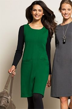 Dresses - Essentials Ponti Shift Tunic  Layered with black T