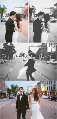 Bride and Groom city portraits at Dusk. Columbus Ohio Wedding Photography. Ashley West Photography.