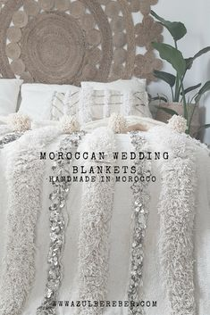 moroccan wedding blanket, moroccan style decoration, vintage and jungalow style, handira bed cover, boho style, bohemian bedroom, boho chic, jungalow style, handmade in morocco, decoration inspiration, shop online