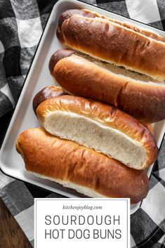 Sourdough Hot Dog Buns - Sourdough Hot Dog Buns – Kitchen Joy These sourdough hot dog buns are fun to make, super soft, f - Sourdough Starter Discard Recipe, Bread Starter, Sourdough Recipes, Sourdough Bread, Sourdough Dinner Rolls, Hot Dog Rolls, Hot Dog Buns, Hot Dogs, Scones