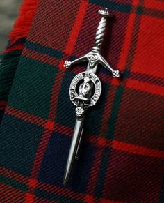 A close up shot of the Clan Robertson kilt pin. Photo by Becky Tyrrell.