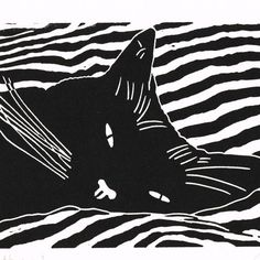 Cat - Black Cat Bedtime - Original Hand Pulled Linocut Print designed by Gary & Heather, Little Ram Studio - Folksy Linocut Prints, Art Prints, Block Prints, Art Et Illustration, Cat Illustrations, Photocollage, Cat Drawing, Gravure, Cat Art