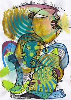 eric meyer, art postal, festival d'art postal vienne, théodore deck, mail art, couleurs, figuration, bleu, dessin, peinture, timbre
