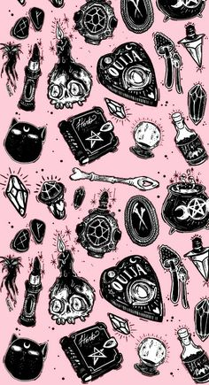 pink, wallpaper, and witch image