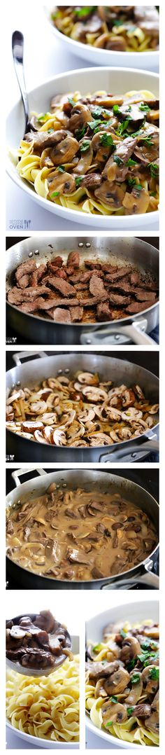 Beef Stroganoff by gimmesomeove: A classic comfort food dish that's lightened up and ready to go in 30 minutes. #Pasta #Noodles #Beef #Mushrooms #Beef_Stroganoff