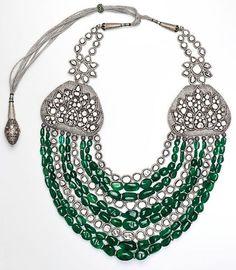 Amrapali large multi-strand Zambian emerald and white diamond necklace with silver silk fastening.