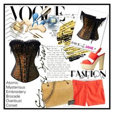 """Atomic Mysterious Embroidery Brocade Overbust Corset V/13."" by selmir ❤ liked on Polyvore featuring J.Crew, Chanel, Charlotte Russe, polyvoreeditorial and atomicjane"