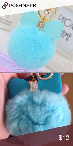 Rabbit furry ball keychain New rabbit fur ball keychain with bow Accessories Key & Card Holders