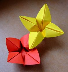 origami bowl flower - one round piece of paper - variation of origami flower bowl -  creator:evi binzinger -  paper: round -  diagrams: no -
