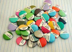 Pantone Magnet Set / Pantone Buttons / Recycled Pantone - Stocking Stuffer - Graphic Designer Gift