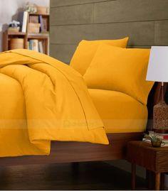Yellow Double Egyptian Cotton Quilt Duvet Cover + Sheet Choice - 1000TC Best Duvet Covers, Double Duvet Covers, Single Duvet Cover, Yellow Comforter, Egyptian Cotton Bedding, Duvet Bedding, King Duvet, Queen Duvet, Luxury Bedding Sets