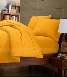 Luxurious Egyptian Cotton Yellow Duvet Quilt Cover Set 1000-Thread Count