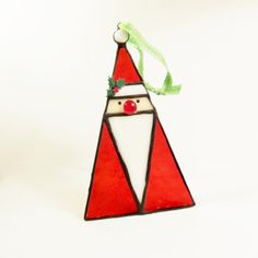 Stained Glass Santa Christmas Ornament/Suncatcher-Winter