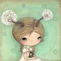 Dandelion Print Whimsical Girl Portrait Wall Art---