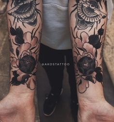 Peony black work tattoos by Akos Tattoo black and grey