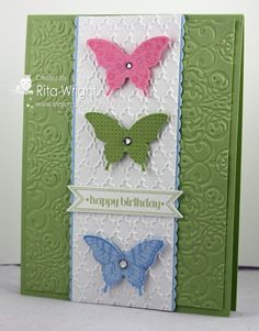 Papillon Potpourri and Itty Bitty Banners-love the use of the debossed side Hand Made Greeting Cards, Making Greeting Cards, Greeting Cards Handmade, Happy Birthday Cards, Birthday Bash, Card Birthday, Birthday Wishes, Origami, Hand Stamped Cards