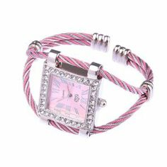 BestDealUSA Cute Lady Romantic Numerals Dial Square Bracelet Watch by BestDealUSA. $6.49. The wire rope style double bracelet adds charm and personalized to you wearing it on your wrist.. Fashion and cute watch Condition: 100% brand new. This is a Bracelet type wrist watch Inside set is Quartz Movement. Roman numerals pink dial with silver tone quardrate case which decorated rhinestone all around, the watch looks elegant and suitable for ladies to wear.. The pin...