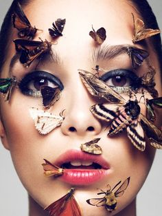 This series would be maybe 4 pics that eventually reveals her face with one butterfly remaining. Beauty by Elias Hove for Schon-Magazine.