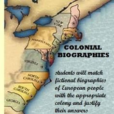 Includes six fictional biographies of European people. Students have to decide which of the 13 colonies the person would be best suited for an why.