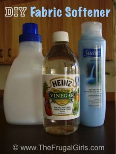 DIY Fabric Softener 6 cups hot water, 3 cups white vinegar, 2 cups sauce refreshing waterfall conditioner to other fav scent, Mix cone and water till dissolved add vinegar. Use 2 Tbsp.