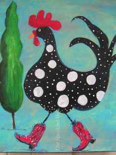 Copyright 2015 The Speckled Hen Rooster Painting, Rooster Art, Chicken Crafts, Chicken Art, Painted Rock Animals, Painted Rocks, Chicken Painting, Farm Art, Chickens And Roosters