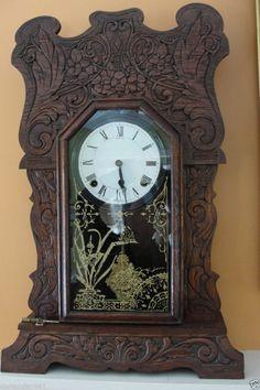 Antique Circa late 1800's Ansonia 8 Day Kitchen Mantel Clock