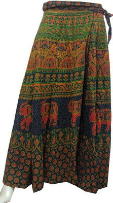 Ethnic block printed wrap around long skirt in cotton from India .These long wrap skirt can be easil...
