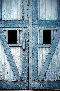 Country Living ~ Blue Barn Doors