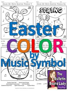 Easter Color by Music Symbol-set of 8 Color Sheets for Music Class from The Bulletin Board Lady on TeachersNotebook.com -  (8 pages)  - This Easter kit contains 4 designs in two different formats.