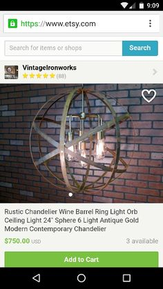 Rustic light made from wine barrel rings