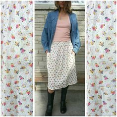 size S/M cotton A-line floral print skirt / cream pansies