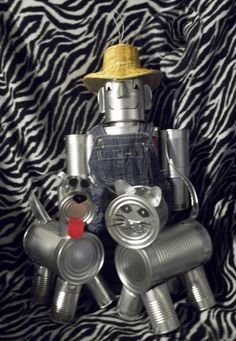 This item is unavailable 3 Items 1 Dog 1 Cat 1 Tin Man Hand Crafted Original Tin Can Man (The Wizard Of Oz) Aluminum Can Crafts, Aluminum Cans, Metal Crafts, Tin Can Man, Tin Man, Recycled Tin Cans, Recycled Crafts, Recycled Robot, Soda Can Crafts