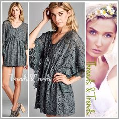 """Lazer Cut Tunic Top Pastel Stunning grey laser cut top. Featuring drawstring waistline, 3/4 length sleeves and crochet lace detail trim sleeves. Size S/M, L/XL                S/M Bust 48"""" Length 28"""" L/XL Bust 50"""" Length 29"""". White eyelet Threads & Trends Tops"""
