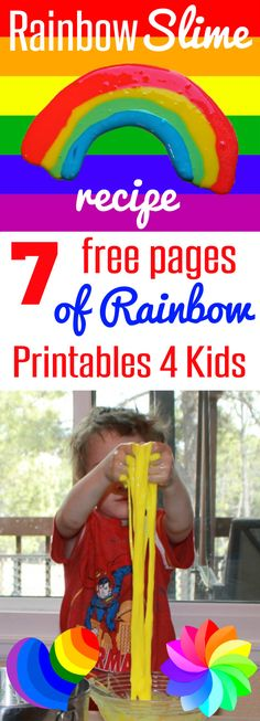 Great kids activity! Rainbow Slime Recipe with 7 Free Pages of Rainbow printables for kids can also be used as rainbow placemats, play doh mats, or even with write-on, wipe-off markers for preschoolers through second grade from HappyandBlessedHome.com