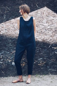 Linen Jumpsuit - Linen Overall - Dark Navy Blue Linen Overall - Women Overall - Handmade by OFFON Navy blue linen jumpsuit. -------------------------------------------------------------------------------------------------------- ABOUT: This handmade linen Mode Style, Style Me, Overalls Women, Creation Couture, Dark Navy Blue, Dungarees, What To Wear, Ideias Fashion, Casual Outfits