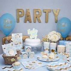 decoration fete anniversaire baby shower bleu et or blue and gold baby shower decoration