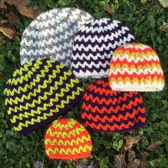 """Pattern includes 2-3 lb preemie, 3-5 lb preemie, 6-9 lb preemie, baby, toddler, and child. These quick and simple to crochet chevron hats are my favorite for donating! Scrap yarn makes great stripes, or choose a trendy gray-and-white color scheme."""