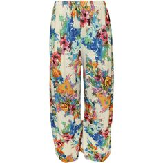 Elise Floral Palazzo Trousers ($18) ❤ liked on Polyvore featuring pants, cream, palazzo trousers, summer pants, wide-leg trousers, stretch waist pants and wide-leg pants