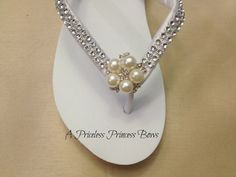 WEDGE Wedding Flip Flops with Satin Bling &  by APricelessPrincess,