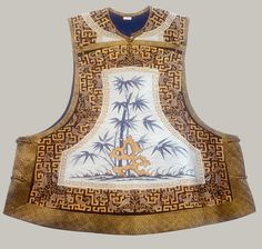 Woman's sleeveless jacket with bamboo, Qing dynasty (1644–1911), late 19th century  China  Tapestry-woven (kesi) silk and metallic thread