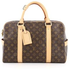Pre-Owned Louis Vuitton Carryall Handbag Monogram Canvas (3.740 BRL) ❤ liked on Polyvore featuring bags, luggage and brown