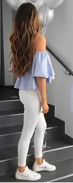 #summer #outfits Blue Off The Shoulder Top + White Skinny Jeans