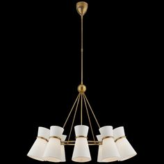 Retro chandelier in style of 60's with white gloss shades