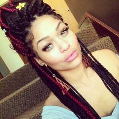 red box braids | red hair #box braids