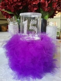 Happy Quinceanera party vase, Quinceanera centerpiece, Purple Quinceanera Centerpiece, Mis Quince Candle Centerpiece, Quinceanera Vase, by OMYG21THINGS on Etsy