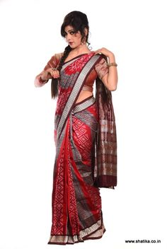 An authentic sambalpuri bomkei pattern saree with blouse piece in black color